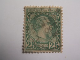 TP MONACO  1883 / CHARLES  III  -  25 C. Vert  - Oblitéré  - - Monaco
