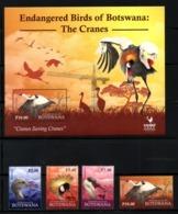 BOTSWANA, 2019 ,, BIRDS - CRANES, 4v.+ M/S, MNH**, NEW!! - Birds