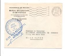 OBLITERATION MECANIQUE SUR LETTRE EN FRANCHISE DE ROUEN QUARTIER GARE 1966 - Annullamenti Meccaniche (Varie)