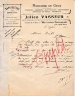 59 WATTIGNIES TEMPLEMARS Près LILLE COURRIER 1912 Manufacture De Bonneterie Julien VASSEUR  - X41 NORD - 1900 – 1949