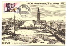 OBLITERATION CONGRES PHILA HAUTE NORMANDIE LE HAVRE 1991 - Commemorative Postmarks