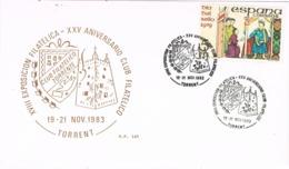 34499. Tarjeta Exposicion TORRENT (Valencia) 1983. 25 Aniversario Club Filatelico - 1931-Hoy: 2ª República - ... Juan Carlos I