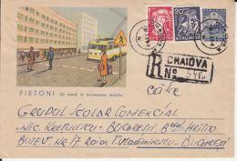 HEALTH, TRAFFIC SAFETY, PEDESTRIANS, BUSS, REGISTERED COVER STATIONERY, ENTIER POSTAL, 1961, ROMANIA - Accidents & Sécurité Routière