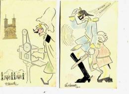 DESSINS Caricatures (2)  Format Carte Postale :signés G Lacoste   1018 Bis - War 1914-18