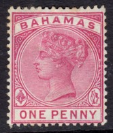 Bahamas 1884-90 1d  Carmine Rose SG48 - Mint Previously Hinged - Bahama's (1973-...)