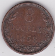 Guernesey   8 Doubles 1858, En Cuivre. KM# 3 - Guernsey