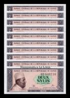 Guinea Lot Bundle 10 Banknotes 2 Sylis 1981 Pick 21 SC UNC - Guinee