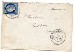 Allier - LSC Affranch N° 60C (déf) Obl Càd Type 17 Montluçon - Storia Postale