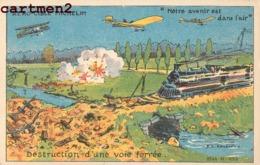 PUBLICITE AERO-CIBLE MICHELIN ILLUSTRATEUR TRAIN LOCOMOTIVE AVIATION MILITAIRE GUERRE PATRIOTIQUE - Advertising