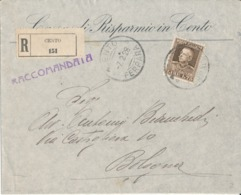 CENTO FERRARA - BOLOGNA 7-2-1928 LETTERA COMMERCIALE RACCOMANDATA VITT. EMANUELE LIRE 1,75 - Poststempel