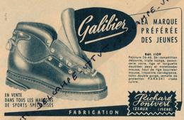 Ancienne Publicité (1953, Noire) : Chaussures RICHARD-PONTVERT (Izeaux, Isère), Modèle Galibier Pour Le Ski... - Werbung