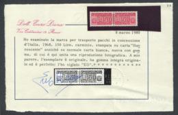1968 PACCHI IN CONCESSIONE L.150 CARTA FLUORESCENTE N.16A CERT. E.DIENA NUOVO** INTEGRO -  MNH LUXUS - Varietà E Curiosità
