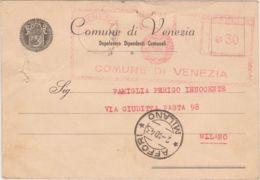 1943 COMUNE Di VENEZIA Annullo Meccanico C.30 Su Cartolina  Con Segnalazione Di Passaggio Prigioniero Di Guerra Per La G - Storia Postale