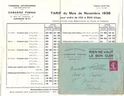 Enveloppe Commerciale + Tarifs 1938 / 64 JURANCON / Tanneries Orthéziennes CABANNE Frères - Frankrijk