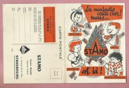 Carte Postale Publicitaire Coupon Réponse STAMO : Strasbourg - Assurance Maladie,dentiste,hôpital,maternité,medecin,phar - Autres Communes