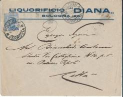 BOLOGNA TARGHETTA 20-10-1924 LETTERA COMMERCIALE PUBBLICITARIA LIQUORIFICIO DIANA MICHETTI CENT. 25 - Poststempel