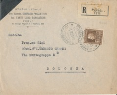 FORLI - BOLOGNA 1-8-1928 RACCOMANDATA VITT. EMANUELE LIRE 1,75 - Marcofilie