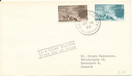 Ireland FDC 25-9-1967 International Tourist Year 1967 Complete Set Of 2 Sent To Denmark - FDC