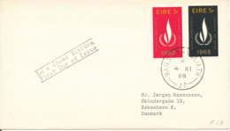 Ireland FDC 4-11-1968 International Year Of Human Rights Complete Set Of 2 Sent To Denmark - FDC