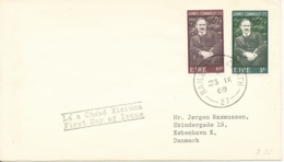 Ireland FDC 23-9-1968 Birth Centenary Of JAMES CONNOLLY 1968 Irish Socialists Complete Set Of 2 Sent To Denmark - FDC