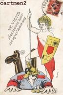 CARICATURE MILITAIRE E. HECKER ANTI-ALLEMAND KAISER PATRIOTISME GUERRE KRIEG KARICATUR - Humour