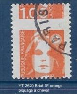 """FR Variétés YT 2620 """" Briat 1F00 Orange """" Piquage à Cheval - Varieties: 1990-99 Mint/hinged"""