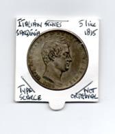 ITALIAN STATES SARDINIA 5 LIRE 1835 TYPE COIN SCARCE - NOT ORIGINAL - - Regional Coins