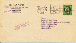 Cuba Cover Sent To Germany Habana 30-3-1934 Single Stamp Overprinted - Covers & Documents