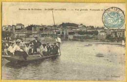 1906 SAINT JUST SUR LOIRE - Rare Carte En Gros Plan Promenade En Barque & Vue Générale - Saint Just Saint Rambert