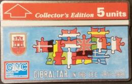 Telefonkarte Gibraltar - Puzzle - Fahnen, Flaggen  - 308A - Gibraltar