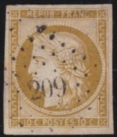 France       .    Yvert    .    1  (2 Scans)  . Petit Endroit Aminci    .         O      .      Oblitéré - 1849-1850 Ceres