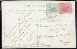 """Australie - 1907 - Affr. Type Cygne Sur CPA """"The Fountain Kelvingrove Park Glasgow"""" Corr. De Broome Pour La France - - 1854-1912 Western Australia"""