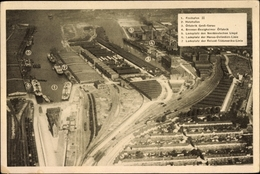 Cp Hansestadt Bremen, Hafen, Totalansicht, Freihafen, Holzhafen, Ölfabrik, Ladeplätze, Eisenbahn - Germania