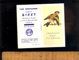 Calendrier Mini 6,5x12cm  1970 Chardonneret Oiseau / Fleuriste Les Gentianes Maison BIZET 3 Rue St Pierre De Vaise LYON - Petit Format : 1981-90