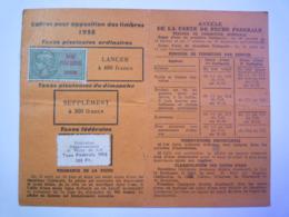"""2019 - 2966  CARTE De PÊCHE Avec Timbre Fiscal """"TAXE PISCICOLE 1958"""" Et """"TAXE Fédérale De 100F 1958""""    XXX - Vecchi Documenti"""