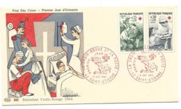 Enveloppe 1 Er Jour  La Croix Rouge Et La Poste  10 Décembre 1966 - FDC