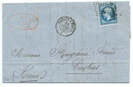 N° 14 BLEU NAPOLEON SUR LETTRE / AMBULANT NANTES A PARIS POUR CASTRES / 31 JANV 1862 / SUCRE DE CANNE CEZARD - Marcophilie (Lettres)