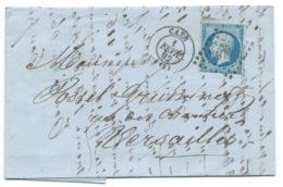 N° 14 BLEU NAPOLEON SUR LETTRE / CAEN POUR VERSAILLES / 1 FEV 1862 - Storia Postale