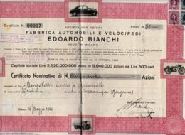 Edoardo Bianchi, Fabbrica Automobili E Velocipidi Milano 15 Maggio 1953 - Auto's
