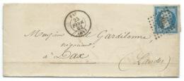 N° 14 BLEU NAPOLEON SUR LETTRE / PAU POUR DAX / 25 FEV 1862 - Storia Postale
