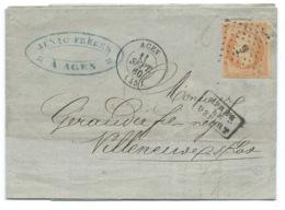 N° 16 ORANGE NAPOLEON SUR LETTRE / AGEN POUR VILLENEUVE SUR LOT / 1860 - Poststempel (Briefe)