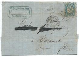 N° 44 BLEU CERES SUR LETTRE / CASTRES SUR L'AGOUT POUR MAZAMET / 1871 - Storia Postale