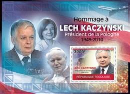 Togo 2010 MNH - Tribute To Lech Kaczynsky (1949-2010), Pope. YT 398, Mi 3548/BL520 - Togo (1960-...)