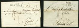 """Vers 1800 """"100 / MAYENCE"""" En Noir. 2 Marques Différentes (34x9) Et (39x11) Sur Deux Lettres Pour Spire Et Schlettstadt - Postmark Collection (Covers)"""