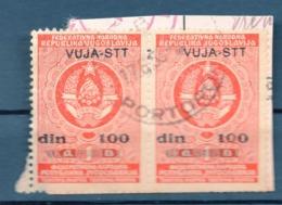 VUJA - STT, 2 REVENUE STAMPS, 100 DINARA, RED - Yougoslavie