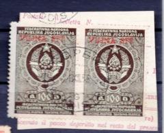 VUJA - STT, 2 REVENUE STAMPS, 100 DINARA, BLACK - Yougoslavie