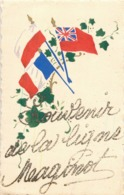 """CARTE PATRIOTIQUE """" SOUVENIR DE LA LIGNE MAGINOT """" CARTE A PAILLETTES FAITE SUR LE FRONT GUERRE 40 - Guerre, Militaire"""