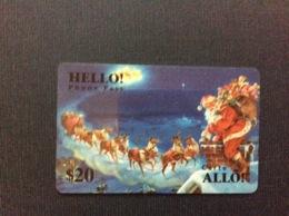 TELECARTE CANADA  ALLÔ  HELLO  *$20  Noel Père Noël Rennes Traîneau  Christmas Santa Claus  Sled  Reeiner - Canada