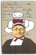 N°13663 - Carte Fantaisie Peinte à La Main - Collage - Visage De Lune - Normande - Fantasie