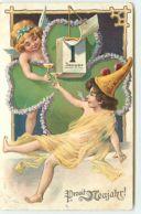 N°13678 - Carte Fantaisie Gaufrée - Prosit Neujahr - Angelot - 1er Janvier - Nieuwjaar